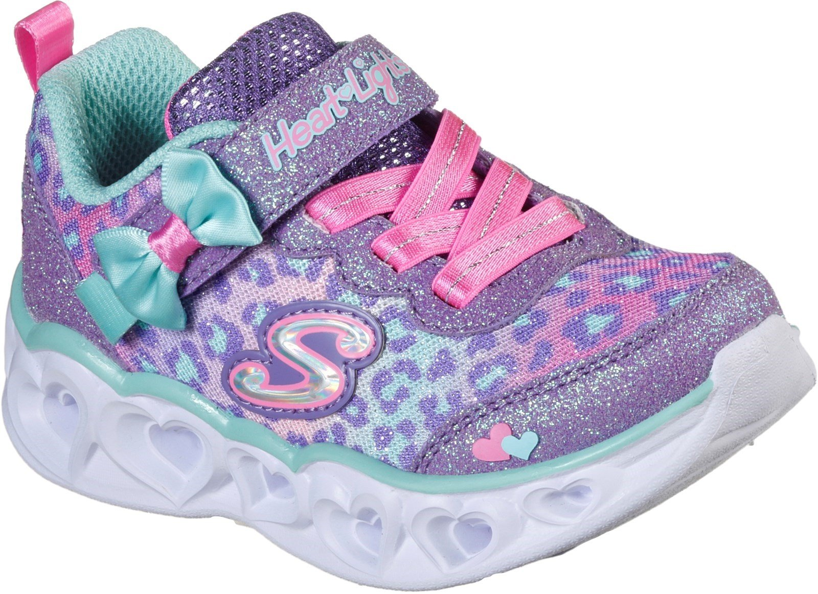 Skechers Kid's Heart Lights Touch Fastening Trainer Various Colours 31134 - Lavender/Aqua 10