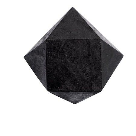 Knopp Diamant M Svart Gjenbrukt Teak 12,5x12,5 cm