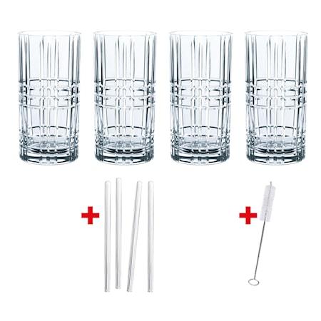 Feel Good Longdrinkglas 44,5 cl 4-pack + Sugrör