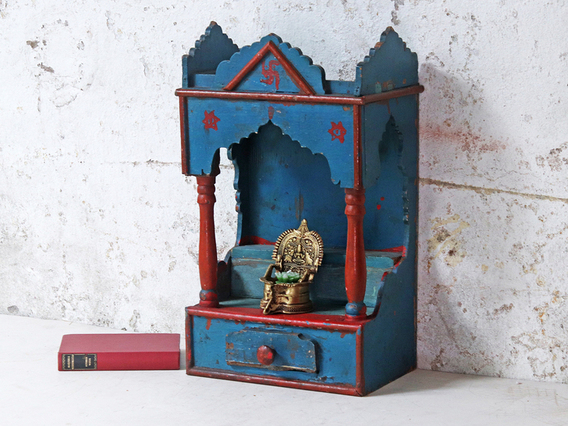 Painted Traditional Temple Display Blue