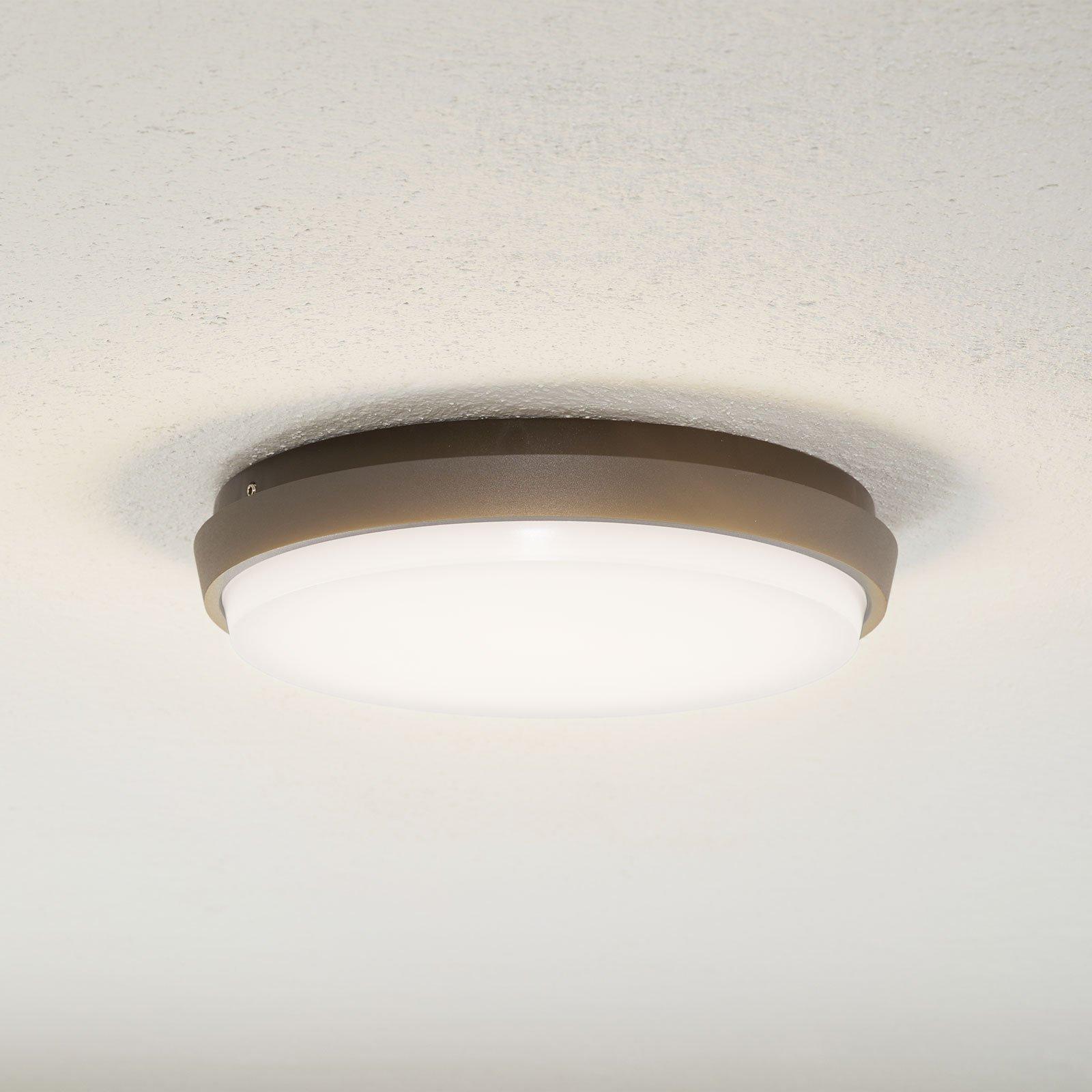 Lucande Amra LED utendørs taklampe, rund, 24 cm