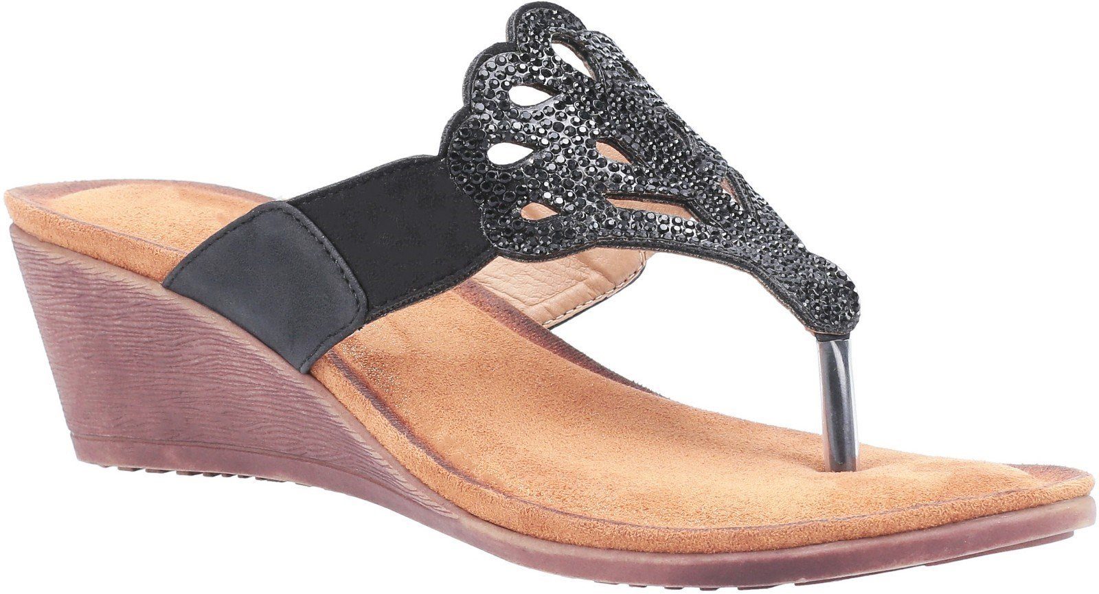 Divaz Women's Felicity Toe Post Sandal Various Colours 30123 - Black 3