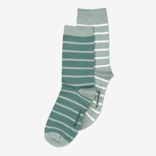 2-pakning stripete sokker turkis
