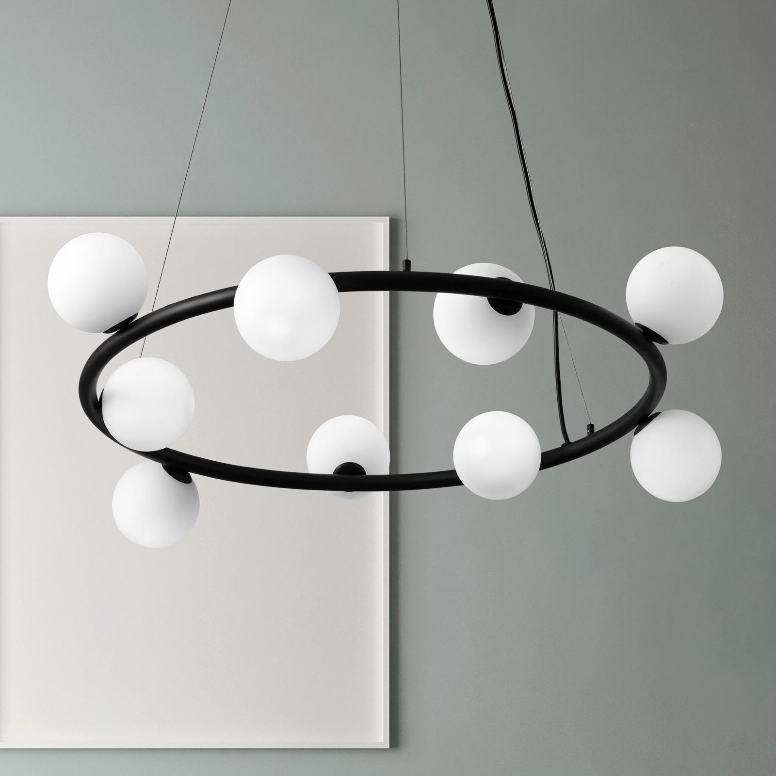 Riippuvalaisin Pomì 9-lamppuinen, jossa lasipallot