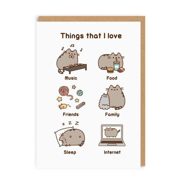 Pusheen Things That I Love Greeting Card