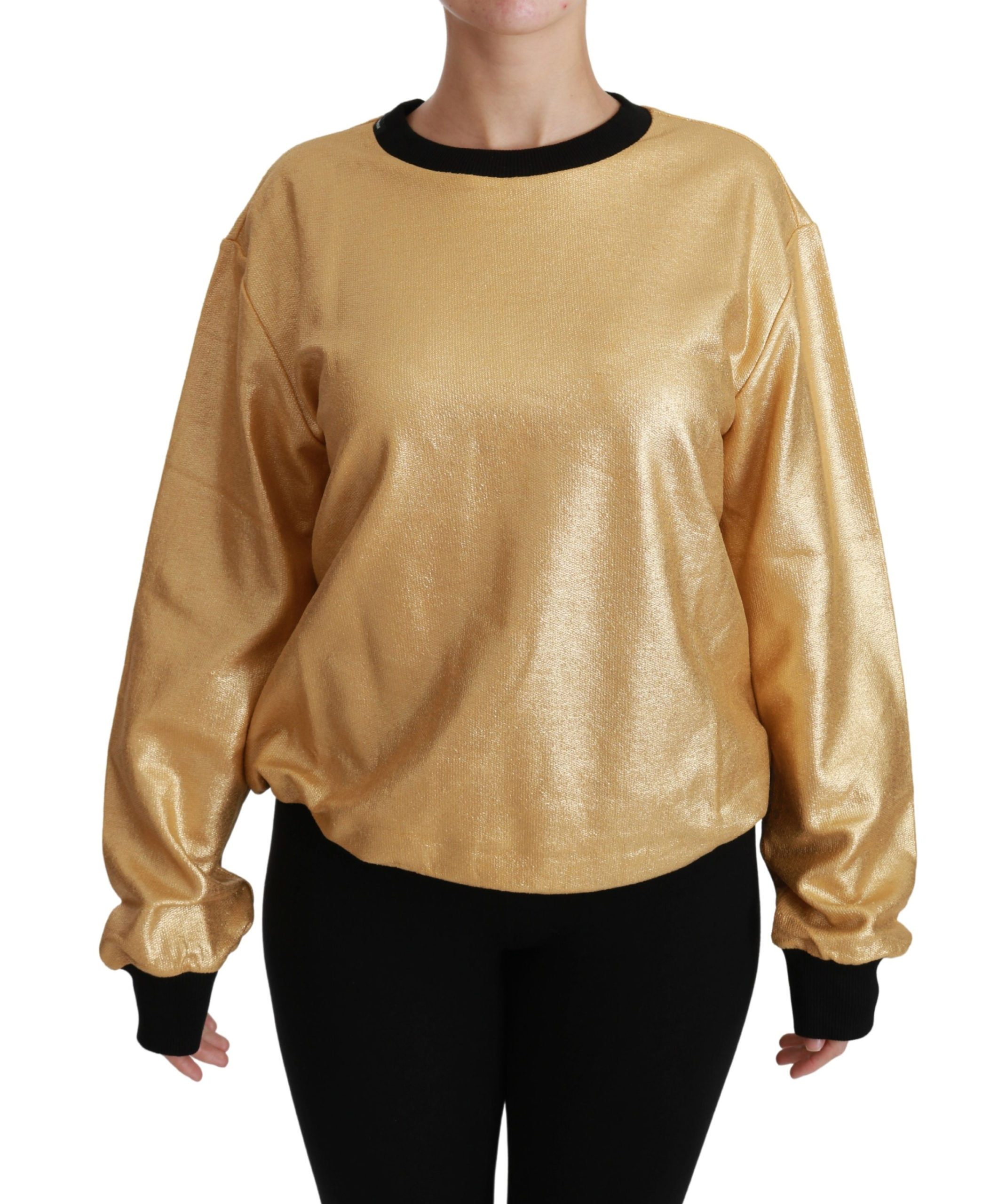 Dolce & Gabbana Women's Cotton Crewneck Pullover Sweater Gold TSH4417 - IT36 | XS