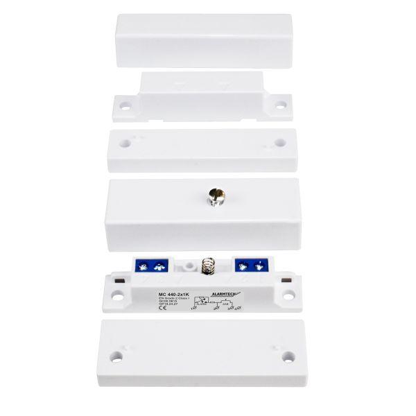 Alarmtech MC 440-2x3,3K Magneettikytkimet sisäänrakennetut vastukset vastus 3,3 kilo-ohmia
