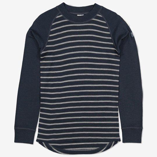 Merinoull stripet trøye voksen mørkblå