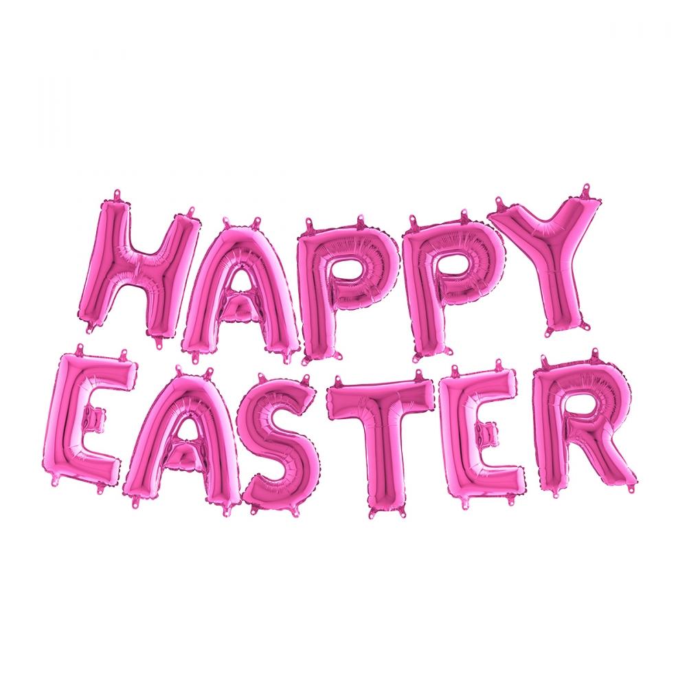 Ballonggirlang Happy Easter Rosa Metallic