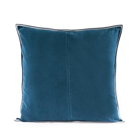Kuddfodral Navy Blue Striped Edge Velvet 50x50 cm