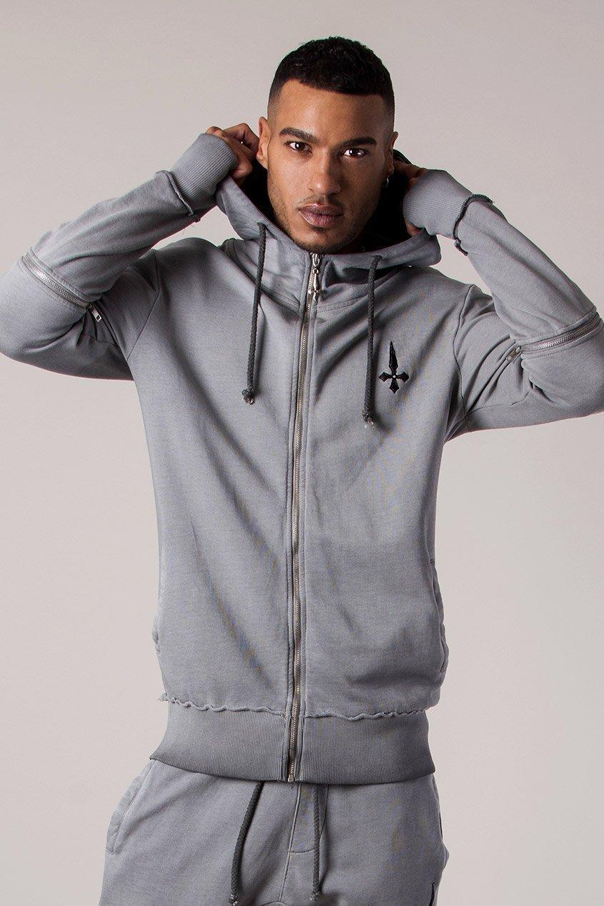 Tracksuit Men's Hoodie in Oil Dye - Grey, Medium