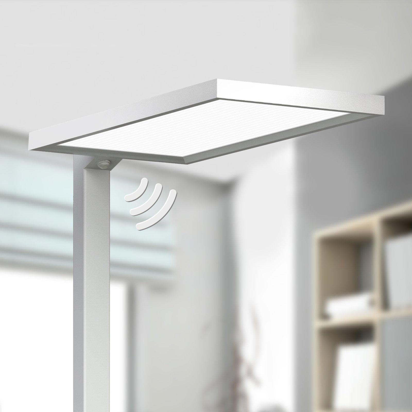 Sølvfarget LED-stålampe Dorean til kontoret