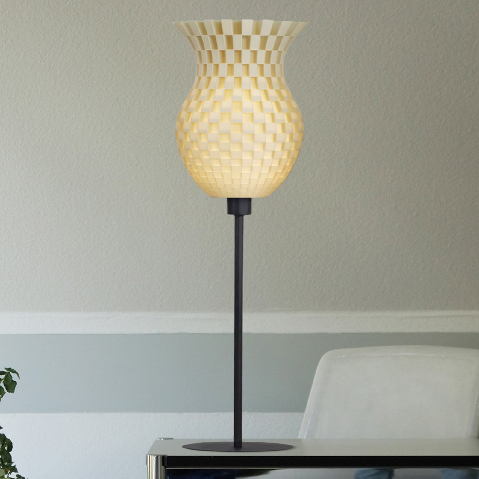 Bordlampe Flechtwerk, 3D-trykk, kremhvit