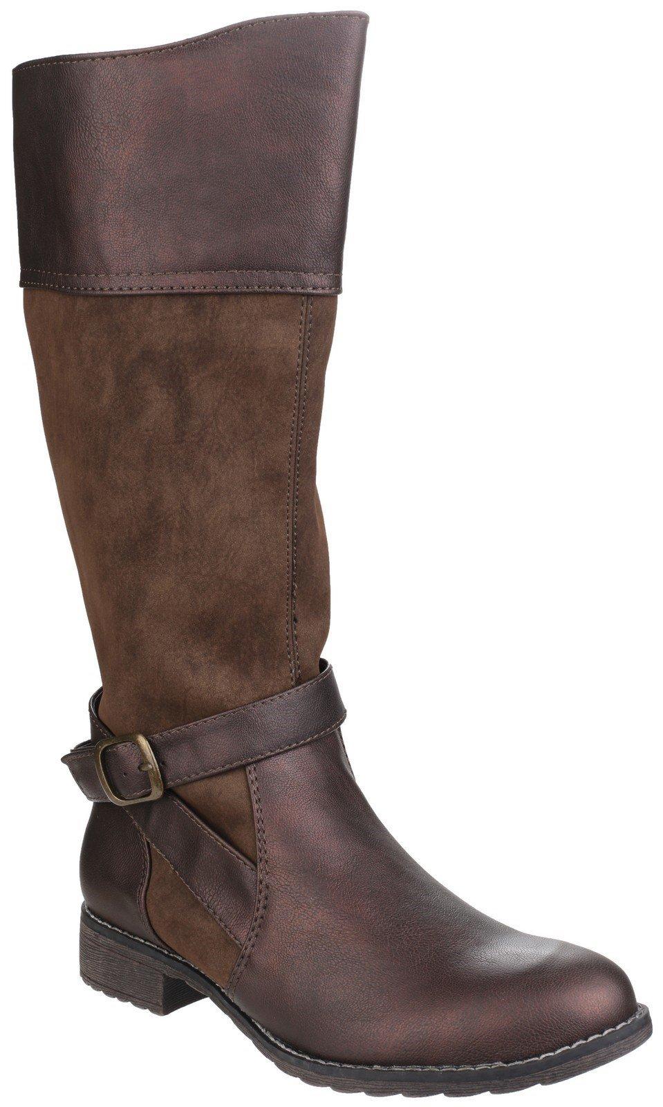 Divaz Women's Garbo Zip Up Boot Black 24268-40012 - Brown 3