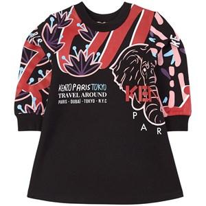 Kenzo Black City Tiger Mjukis-klänning Svart 2 år
