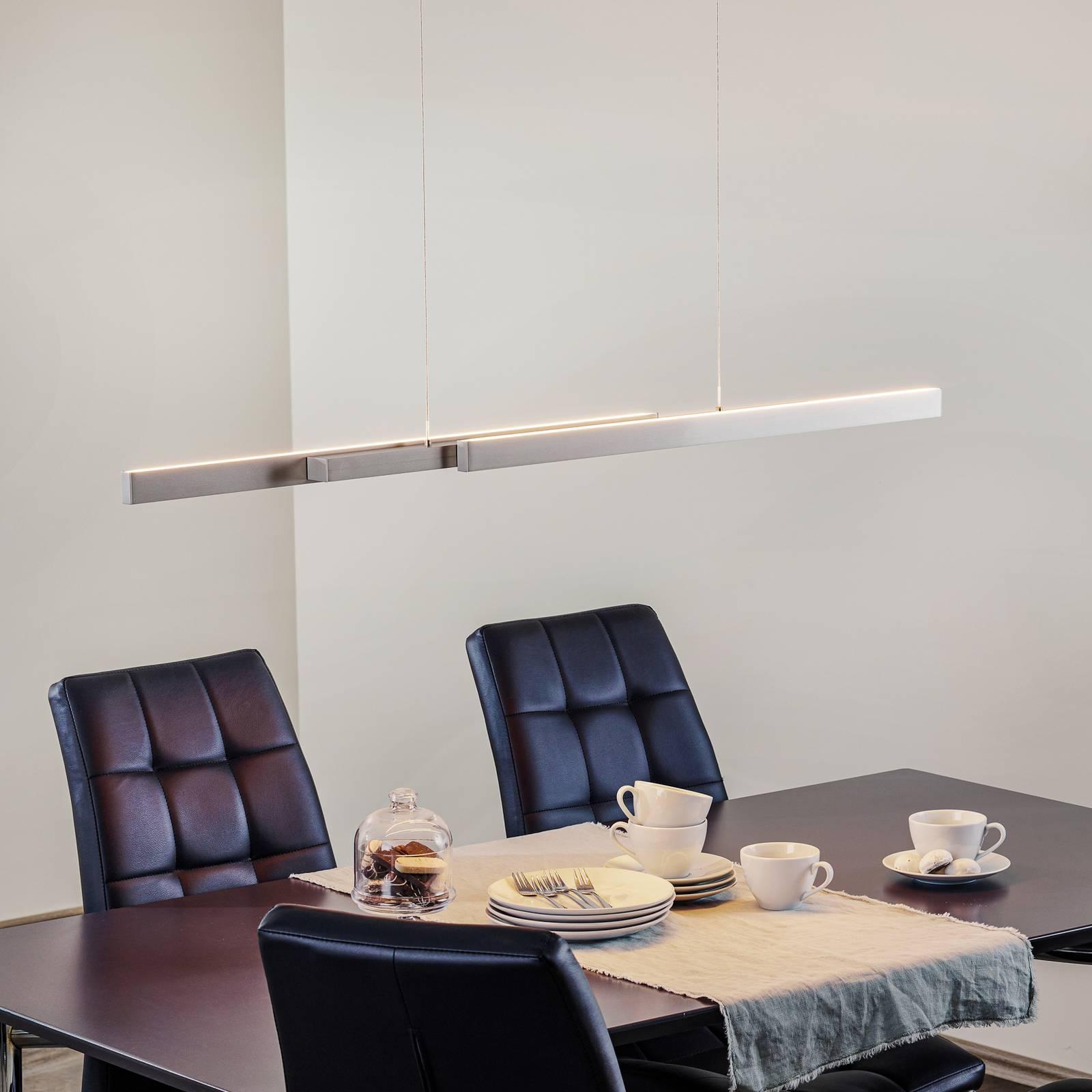 LED-riippuvalaisin Lara, 134 cm, nikkeliä