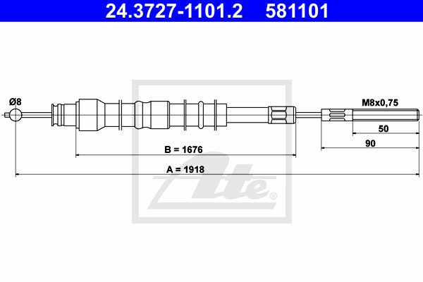 Cable, parking brake ATE 24.3727-1101.2