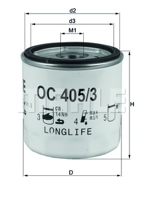 Öljynsuodatin MAHLE ORIGINAL OC 405/3