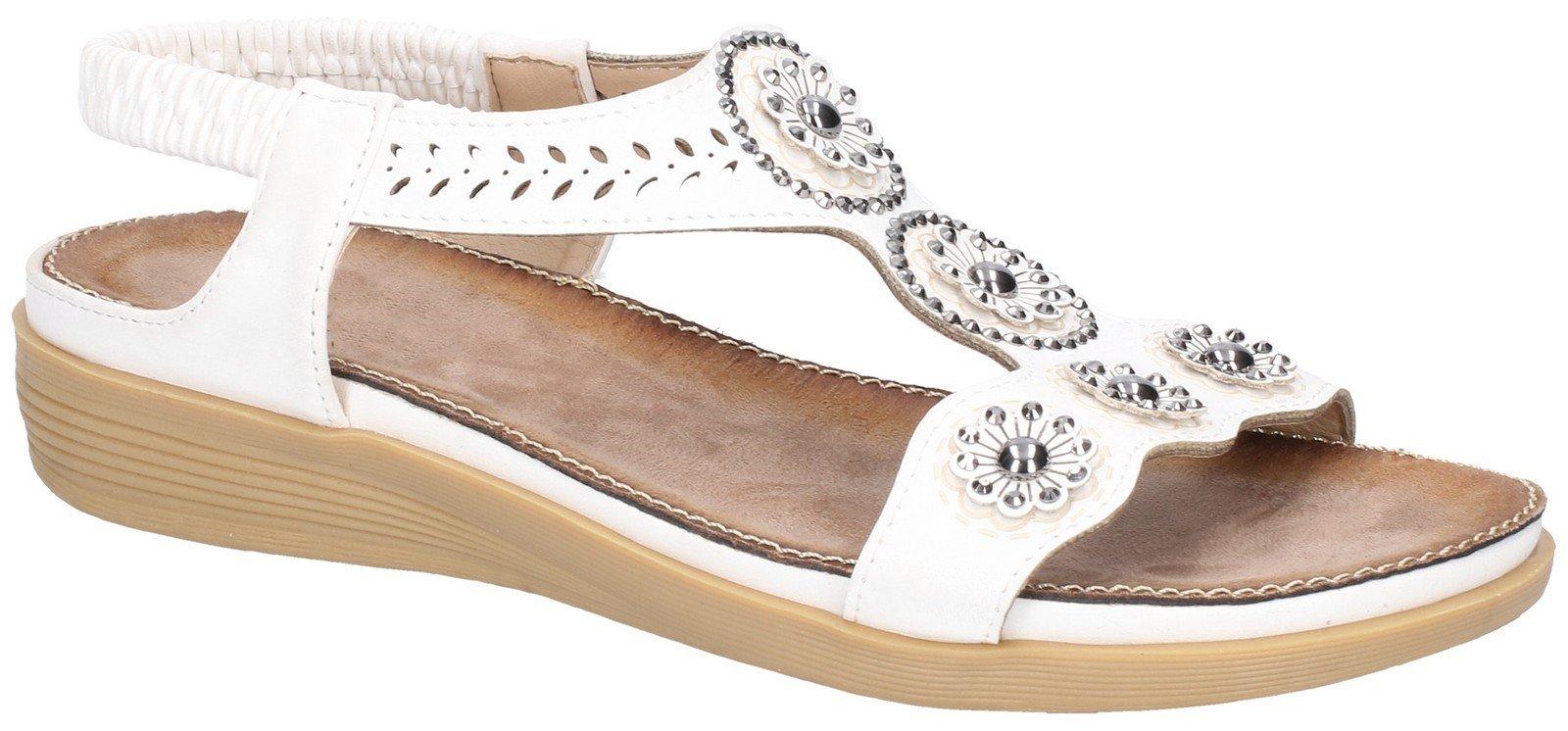 Fleet & Foster Women's Caper Elastic T-Bar Sandal Various Colours 28281 - White 3