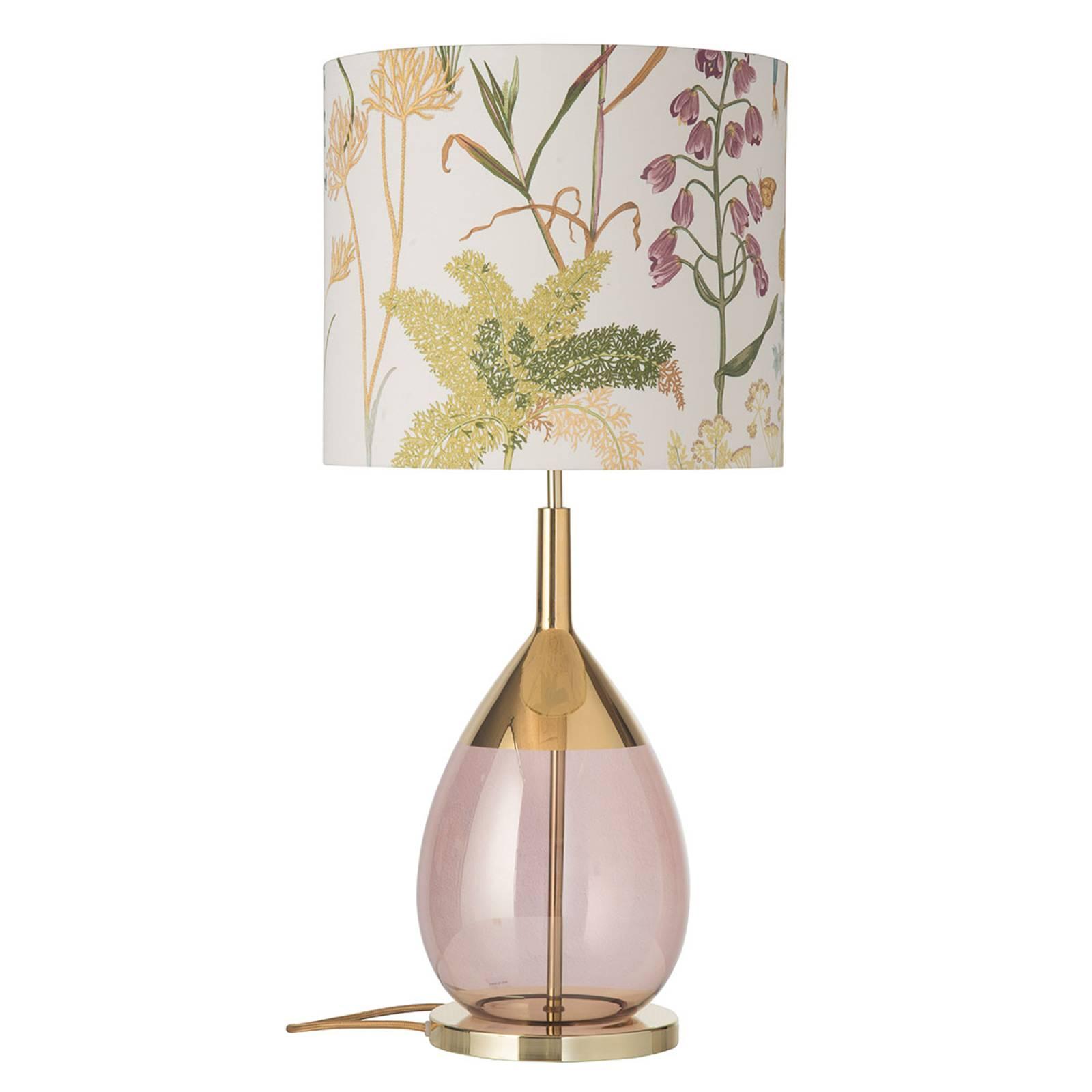 EBB & FLOW Lute-pöytälamppu, kukallinen varjostin