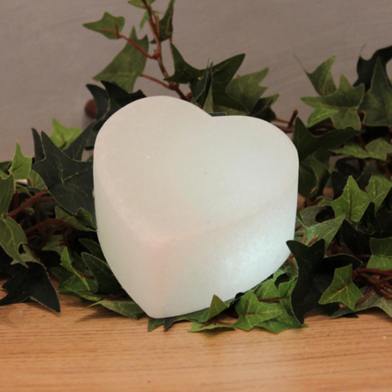Valkoinen LED-sydän White Line suolakristallista
