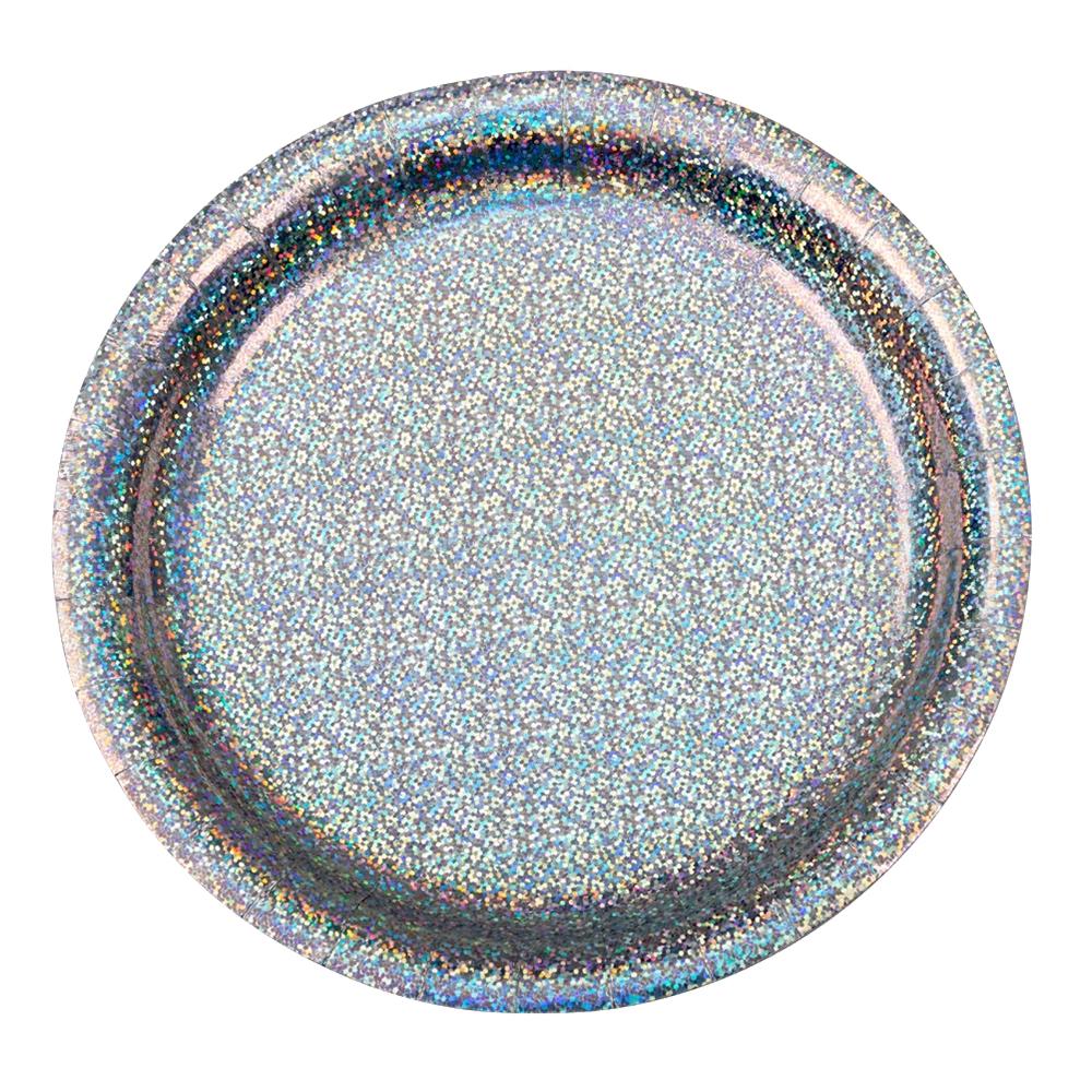 Papperstallrikar Holografiska Silver - 8-pack