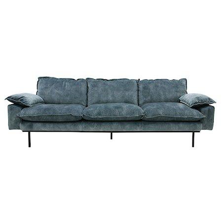 Retro Sofa Fløyel 4-seter Blå