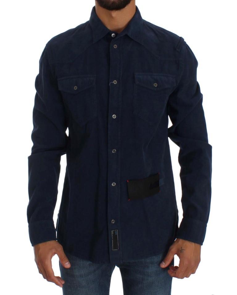 Acht Men's Cotton Slim Fit Shirt Blue SIG30873 - L
