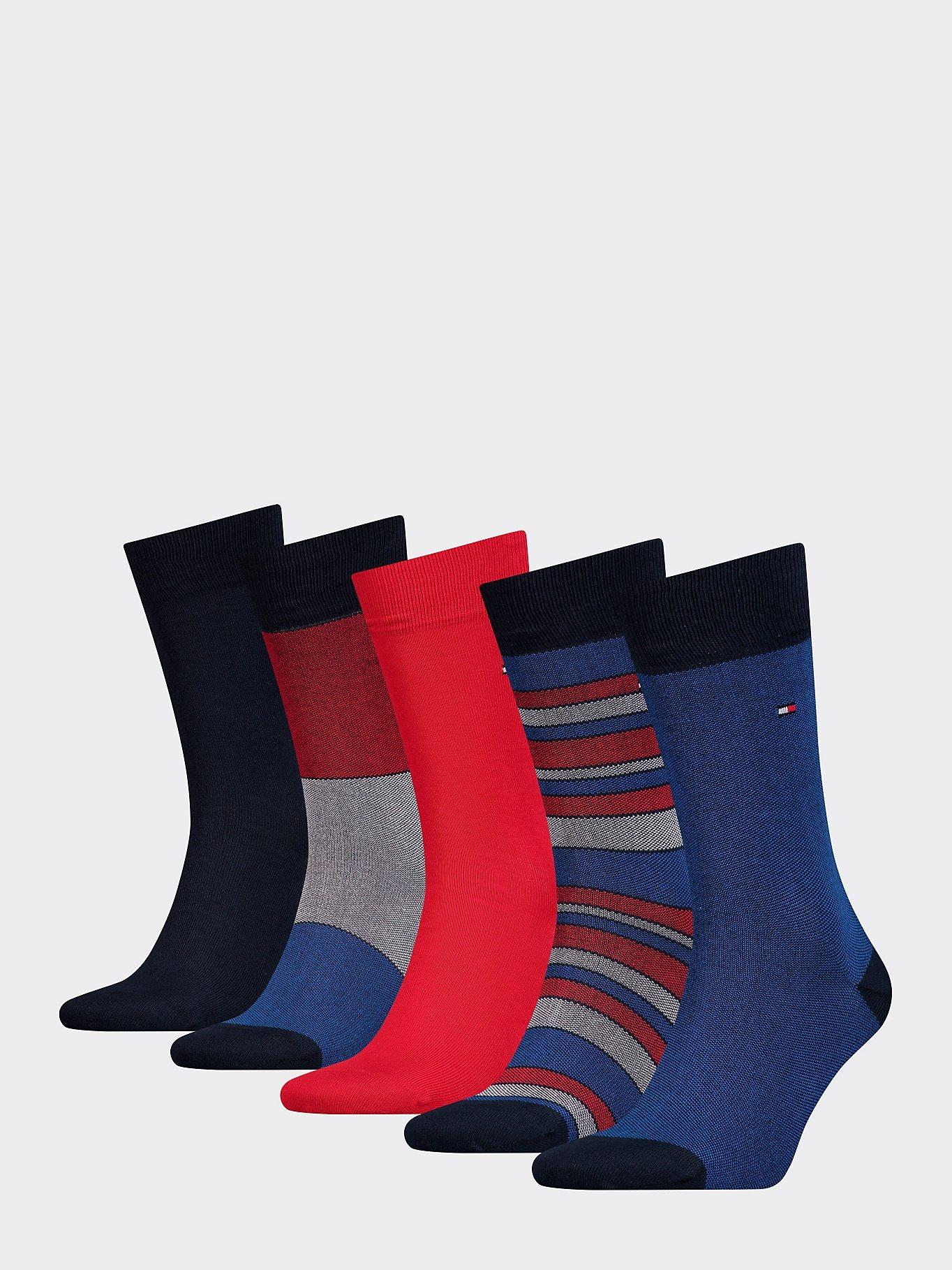 Tommy Hilfiger Men's 5 Pack Stripe Socks Various Colours 871862456834 - 39-42 Black