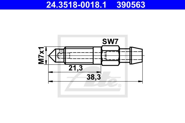 Huohottimen pultti / venttiili ATE 24.3518-0018.1