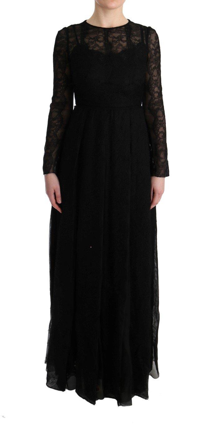 Dolce & Gabbana Women's Floral Lace Sheath Silk Dress Black SIG60585 - IT38|XS