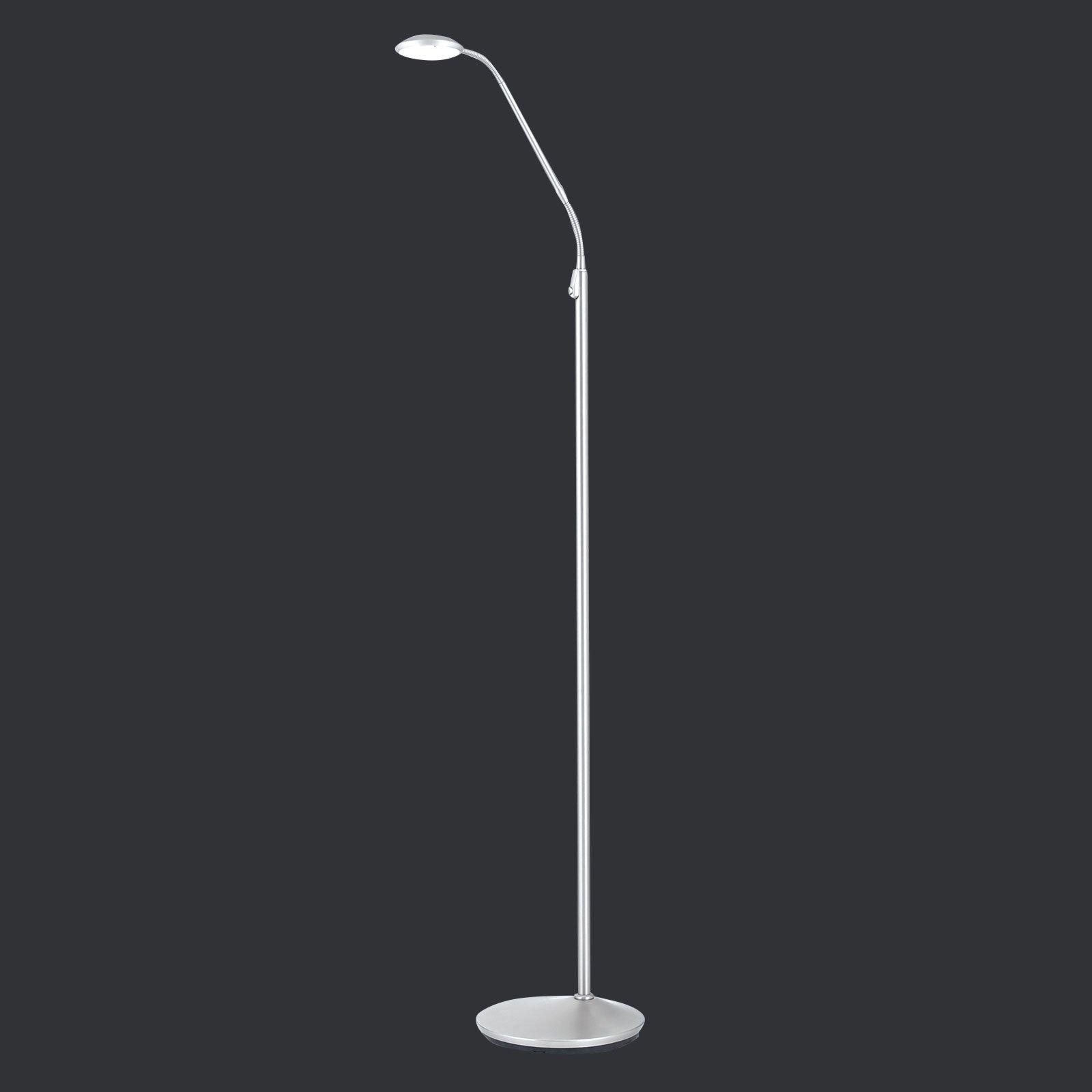 Nikkelfarget LED-gulvlampe Cobra 1 lyskilde