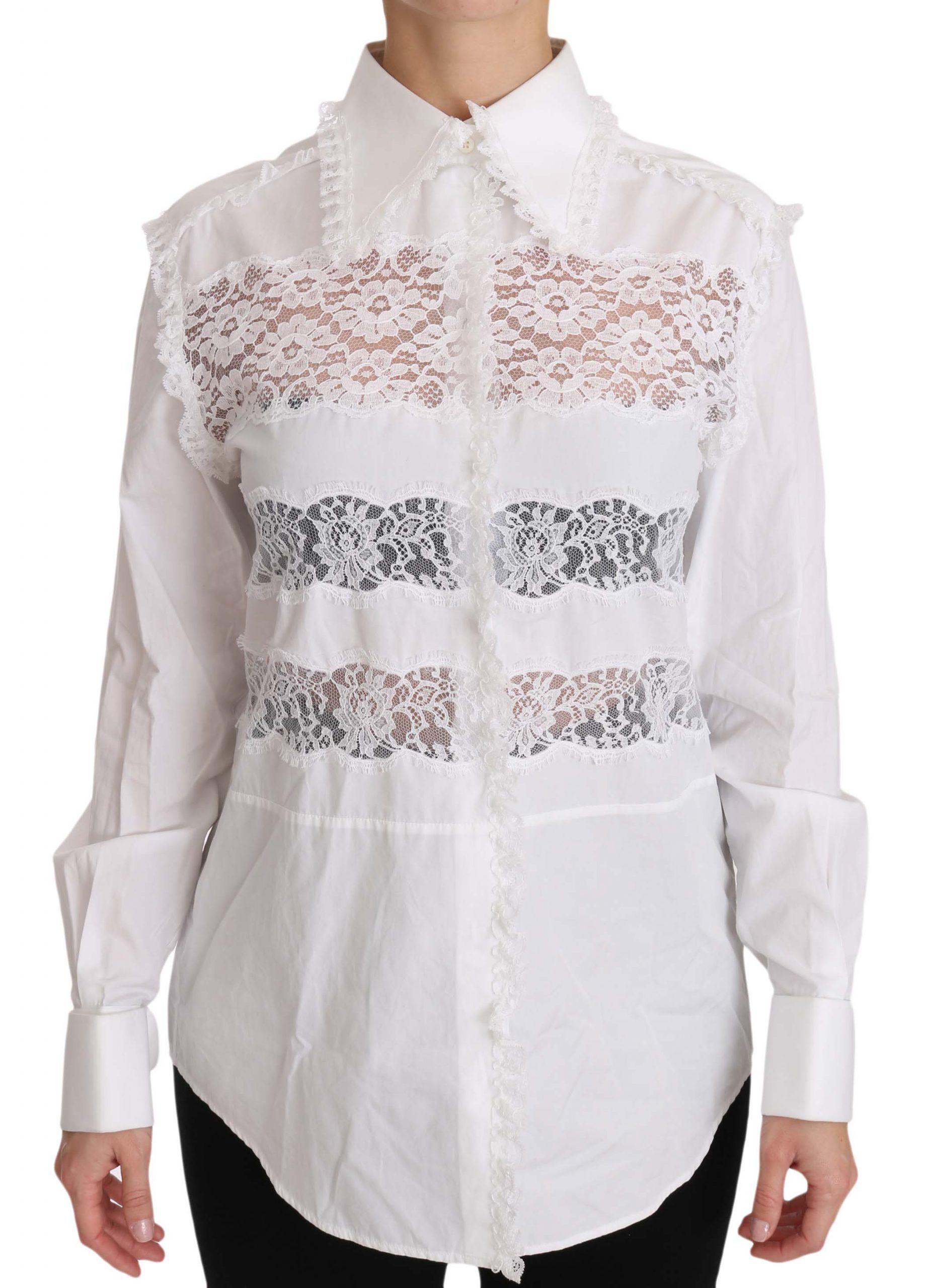 Dolce & Gabbana Women's Frill Lace Inset Poplin Shirt White TSH3218 - IT40|S