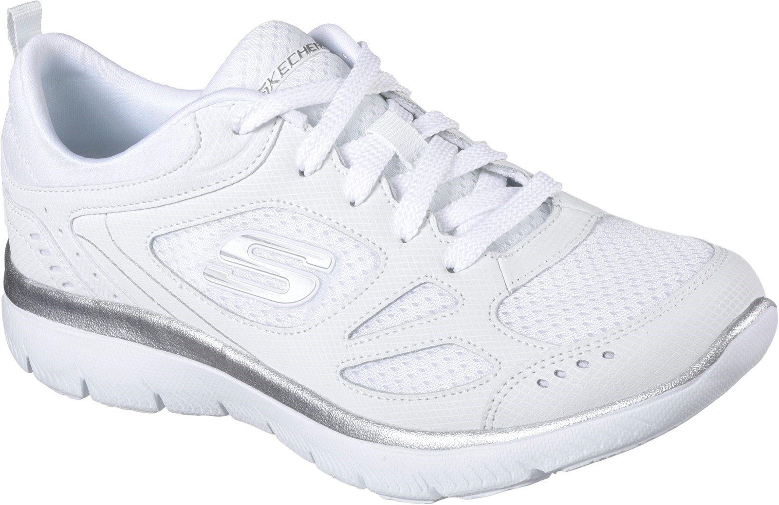 Skechers Women's Summits Suited Lace Up Trainer Multicolor 31941 - White/Silver 3