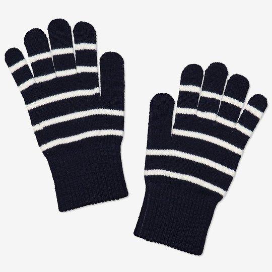 Stripete fingervanter ull tøybare mørkblå