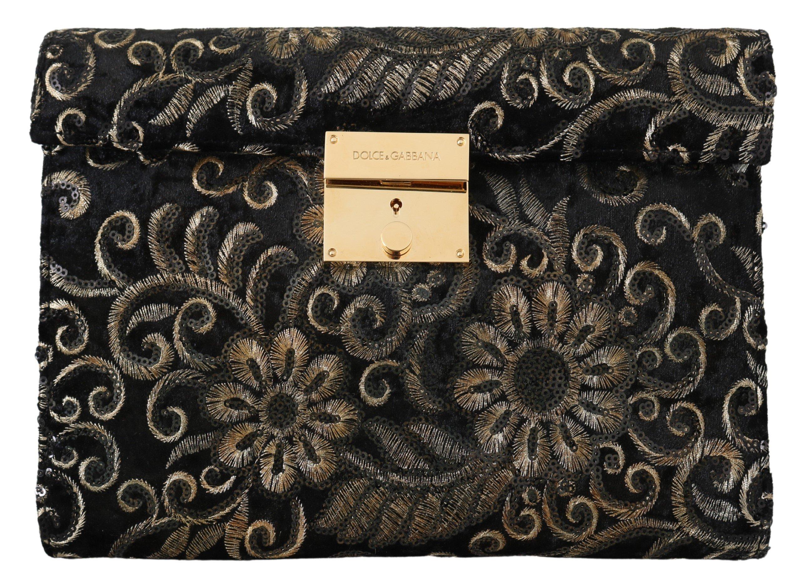 Dolce & Gabbana Men's Ricamo Sequined Leather Briefcase Bag Black VAS9862