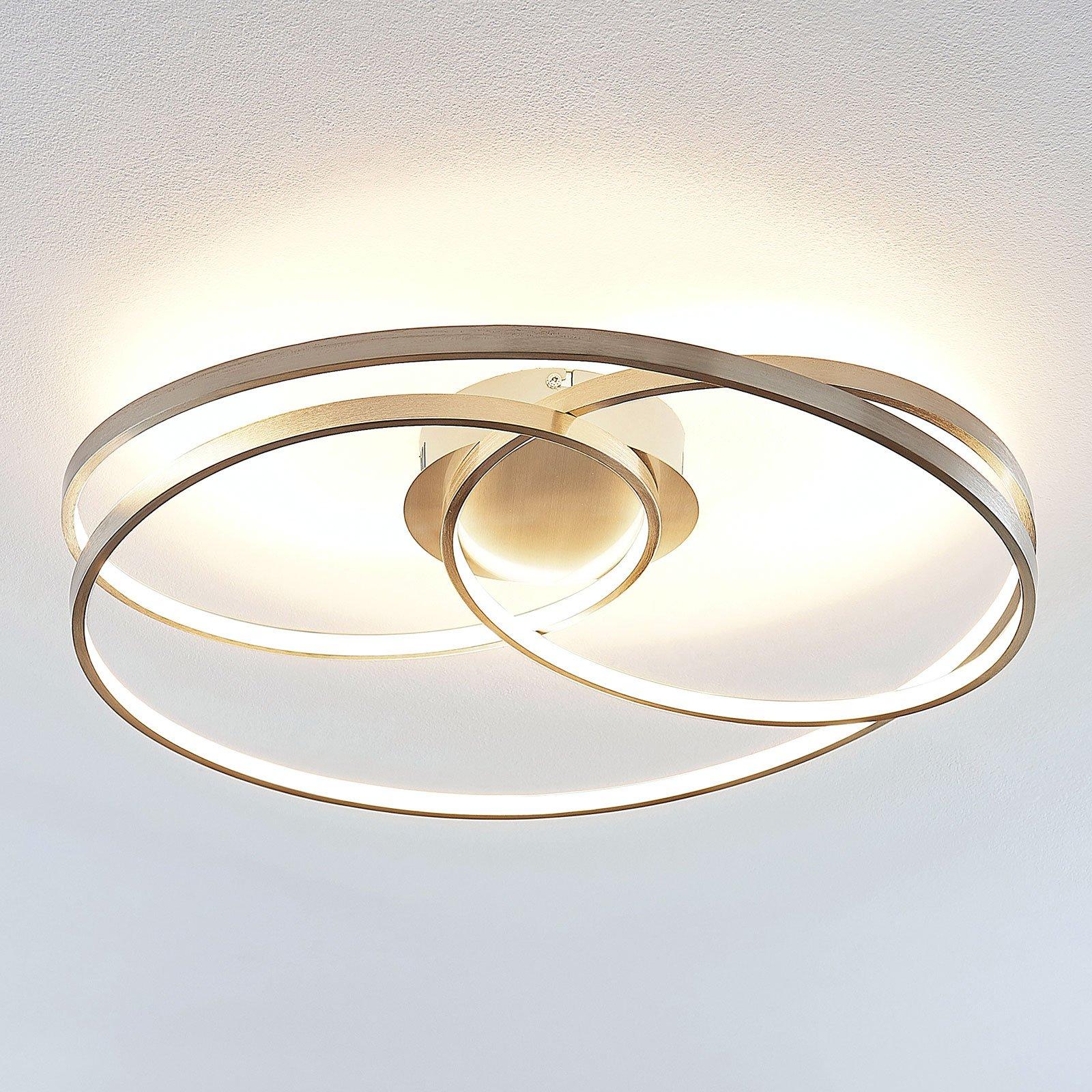 Lindby Ronka LED-taklampe, satinert nikkel