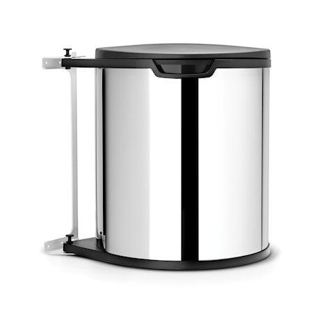 Avfallshink til bänkskåp rund, plastinnerbøtte (inkl fester) 15 L Blankbørstet Stål