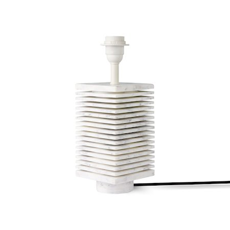 ribbed table lamp base white marble