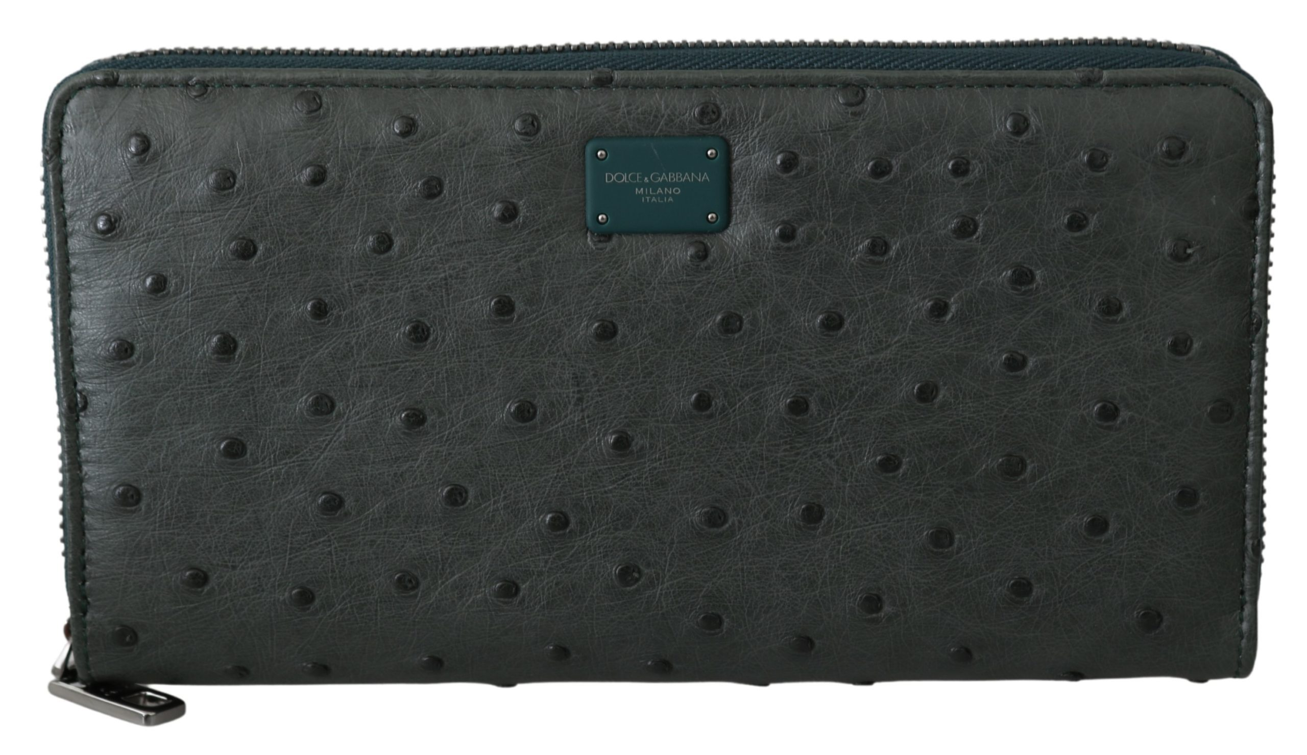 Dolce & Gabbana Men's Ostrich Leather Continental Wallet Green VAS9686
