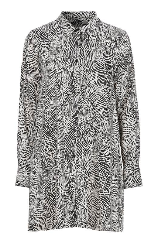 Cellbes A-linjeformad skjorta Svart Vit