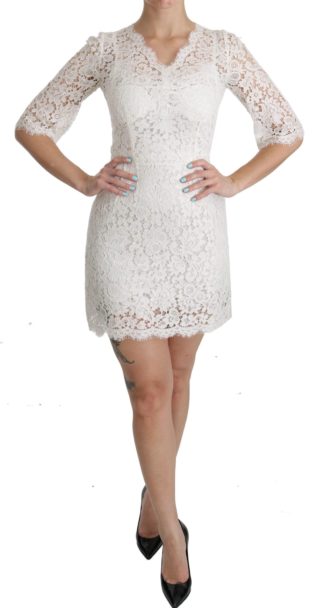 Dolce & Gabbana Women's Floral Lace Shift V-neck Mini Dress White - IT36 | XS