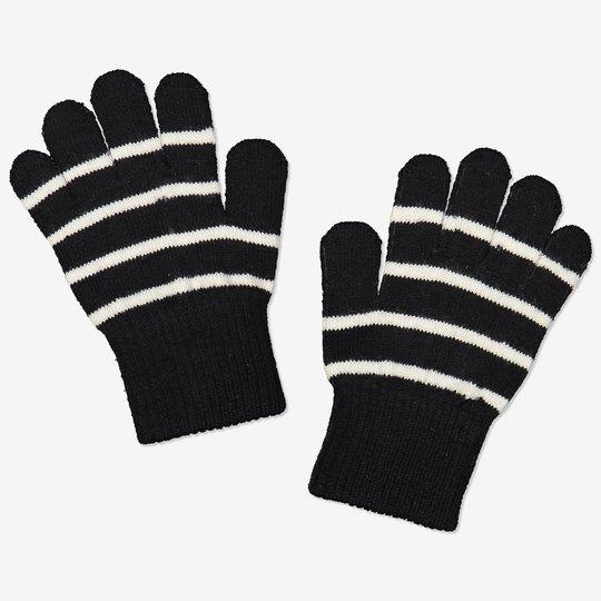 Stripete fingervanter ull tøybare svart