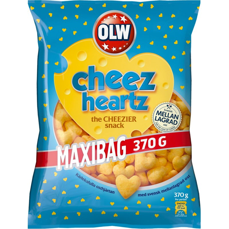 """Juustosnacksit """"Cheez Hearts"""" 370 g - 33% alennus"""