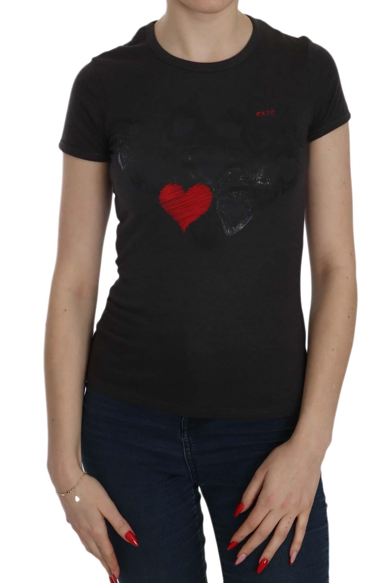 Exte Women's Hearts Print SS Casual Shirt Top Black TSH3910 - IT42|M
