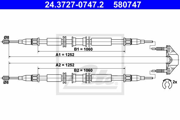 Käsijarruvaijeri ATE 24.3727-0747.2