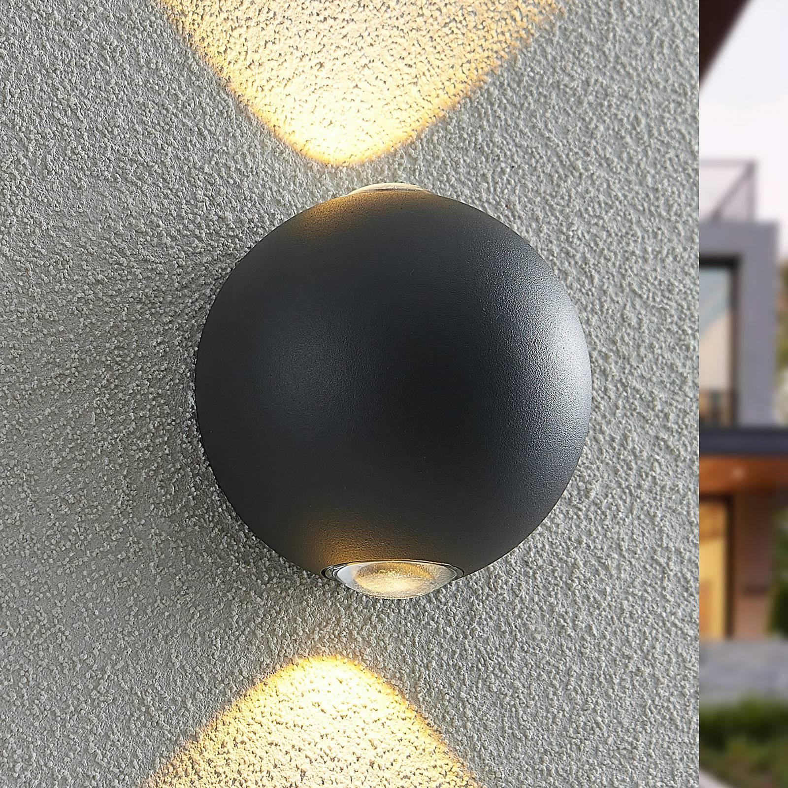 Lindby Esmani -LED-seinävalo pyöreä 2-lamp. harmaa