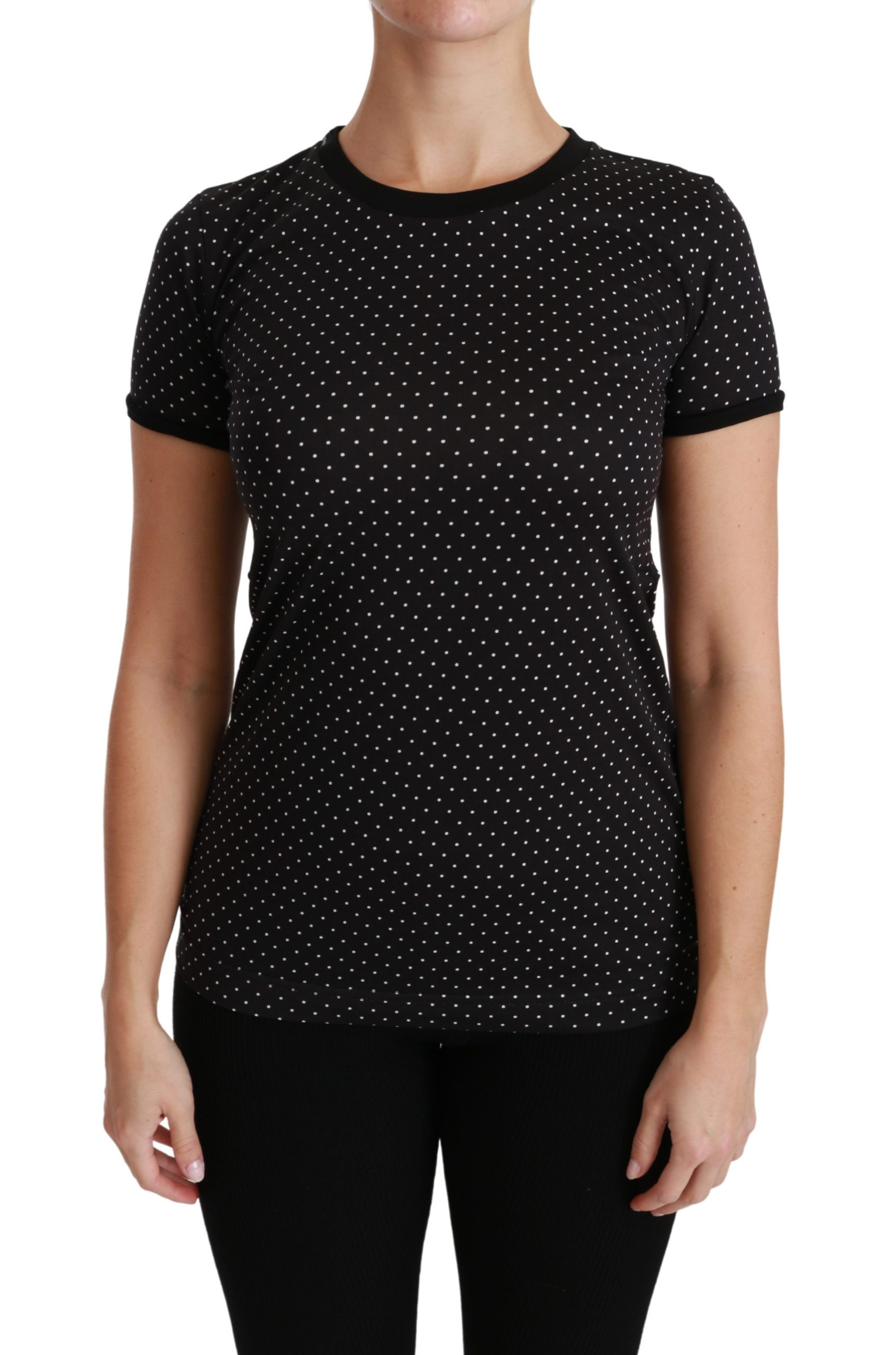 Dolce & Gabbana Women's Dotted Crewneck Cotton T-Shirt Black TSH4435 - IT38 | S