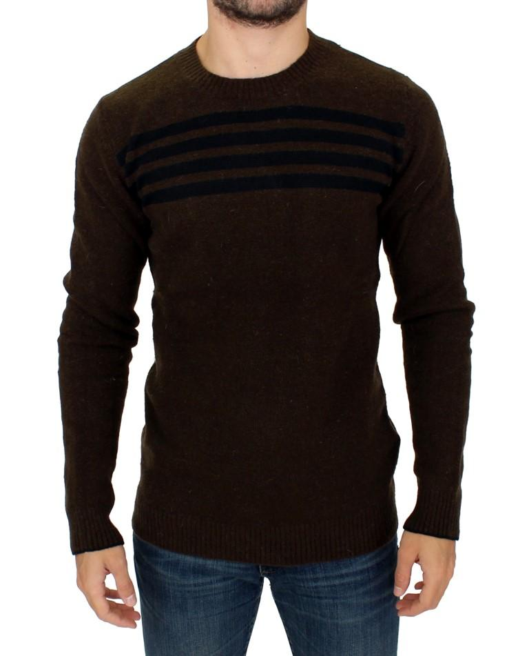 Costume National Men's striped Crewneck Sweater Brown SIG10540 - IT52 | XL