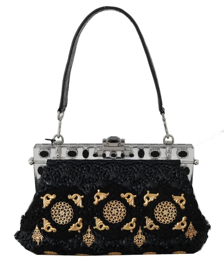 Dolce & Gabbana Women's Crystal Tassel Gold Charms Clutch Bag Black VAS15073